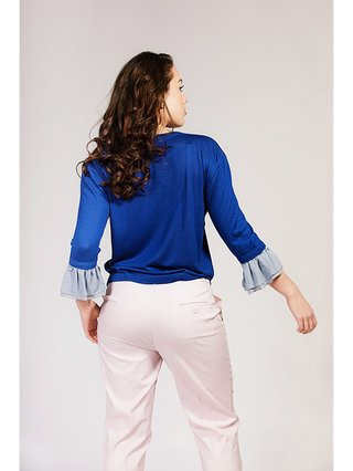 Asneh Agnes Sodalite Blue Silk Cashmere Top with Ruffle-trimmed Sleeves