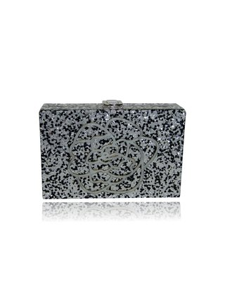 Milanblocks  Sultana Black and Silver Glitter Acrylic Box Clutch