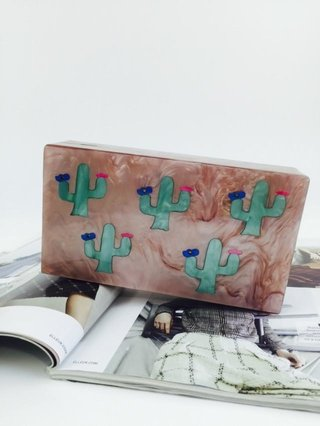 Milanblocks Tropical Cactus Acrylic Box Clutch