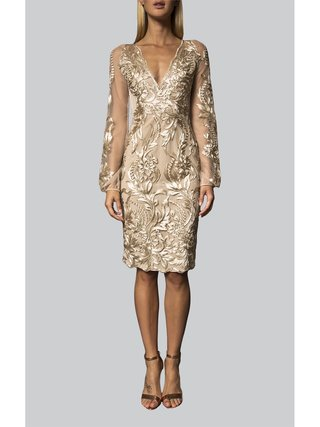 Narces Golden Lace Embellished Dress
