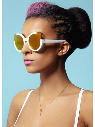 COCONAUTICAL Tiffany's -White Cat Eyed Sunglasses