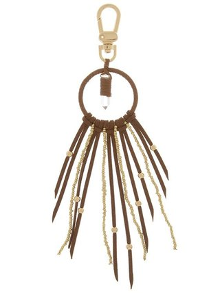 Arcade Attire Stone Accent Suede Beaded Fringe Keychain - Black
