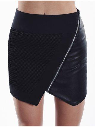 Cara Cheung Optic Mesh Moto Skirt Black