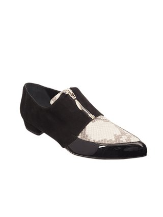 Kari C. Lottie Black Suede Python Patent Leather Loafers
