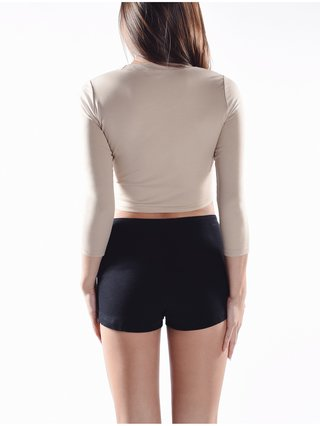 Cara Cheung 3/4 Sleeve Crop Top - Nude