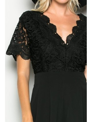 Arcade Attire Open Back Lace Top Romper - Black/White