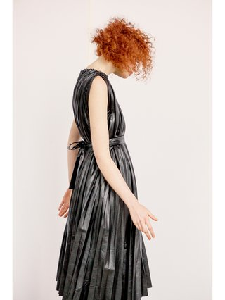 Hilary MacMillan Faux Black Pleated Dress