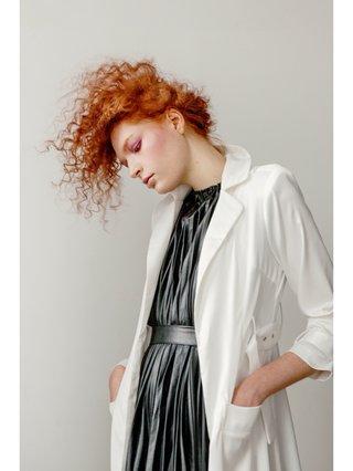 Hilary MacMillan Faux Black Pleated Dress