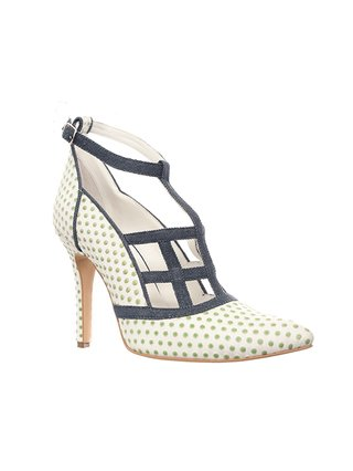 Kari C. Orme Green Polka Dot Leather Heel