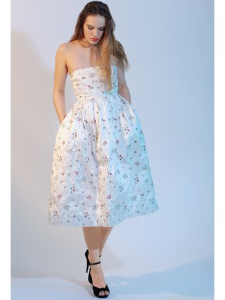 LIZA VETA Midi Floral Silk Dress