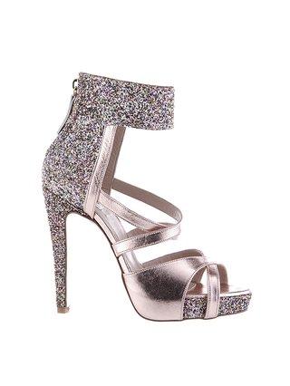 Kari C. Dahlia Rose Gold Open-Toe Glitter Heel Sandal