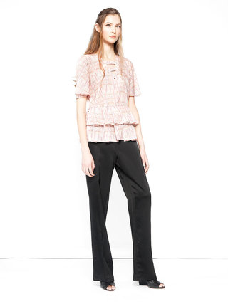 Hilary MacMillan Lip Print Ruffle Top