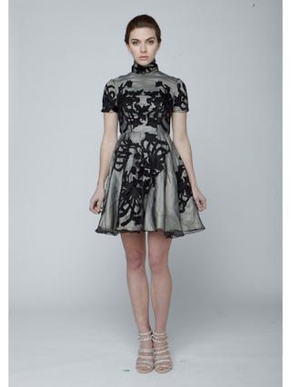 Narces Gabi High Collar Black Dress