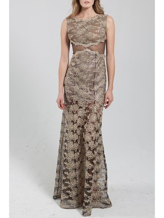 Narces Gold Floral Lace Gown