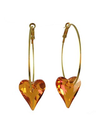 MizDragonfly Swarovski Crystal Heart Earrings Rust