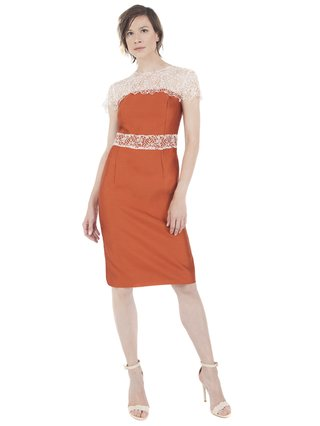 LIZA VETA Pencil dress with lace top