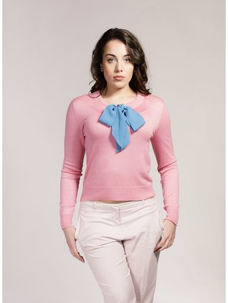 Asneh Candy Pink Helen Silk/Cashmere Sweater with Cornflower Blue Silk Pussy-Bow
