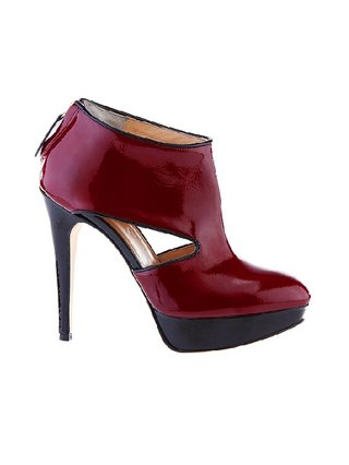 Kari C. Neeta Red Cut-Out Ankle Boot