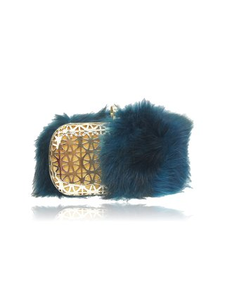 Milanblocks Kelly Green Real Fox Metal Mesh Box Clutch
