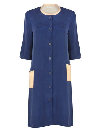LIZA VETA Silk Sandwashed Light Coat With Asymmetric Pockets