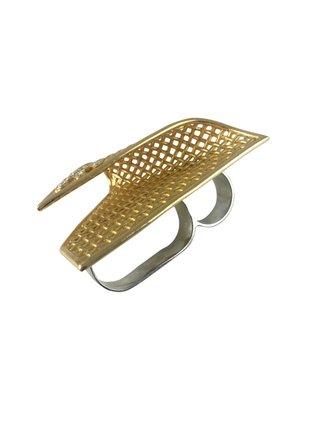 MizDragonfly Vintage Rhinestone Mesh Ring