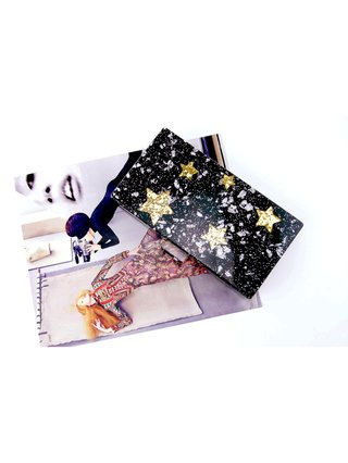 Milanblocks Black Glitter Star Box Acrylic Clutch