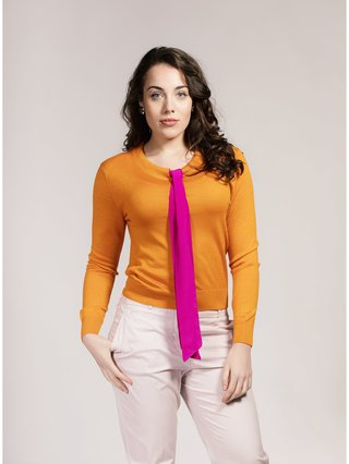 Asneh Yellow Helen Silk/Cashmere Sweater with Pink Silk Pussy-Bow