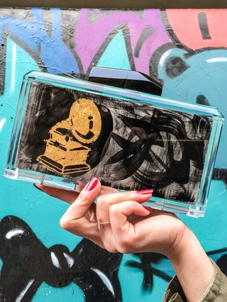 Last Dance Hand Painted Graffiti Acrylic Clutch