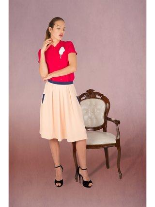 LIZA VETA Silk Sandwashed Pleated Skirt