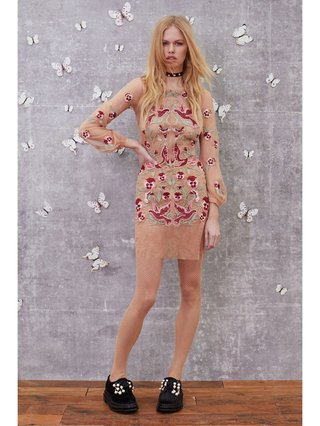 For Love & Lemons Dove Embroidery Mini Dress
