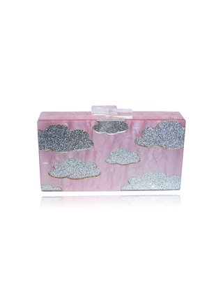 Milanblocks Pink Cloud Acrylic Box Clutch