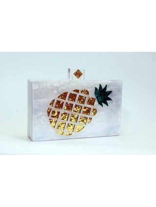 Milanblocks Pineapple Lucite Box Clutch