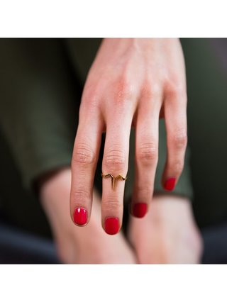 Ternary London TERNARY TIMELESS 18CT GOLD PLATED STERLING SILVER MID FINGER RING