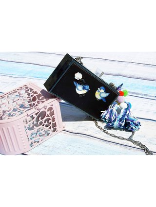 Milanblocks Handmade Pompom Embroidery Acrylic Box Clutch
