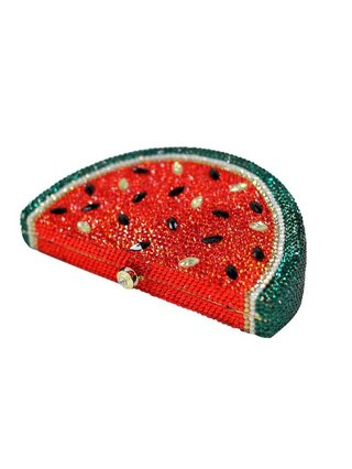 Milanblocks Rhinestone Watermelon Minaudiere Box Evening Clutch