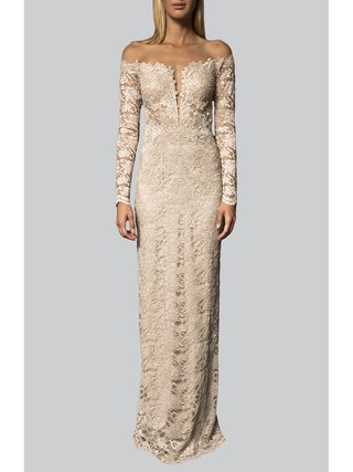 Narces Champagne Lace Off Shoulder Gown