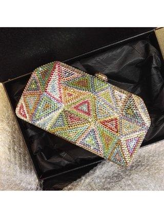 Milanblocks Crystal Minaudiere Pyramid Clutch