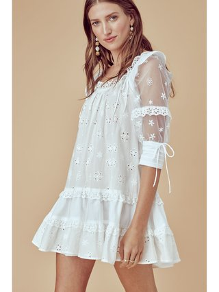 For Love & Lemons Hermosa Eyelet Swing Dress
