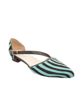Kari C. Hattie Turquoise Zebra Print Pony Skin d'Orsay Flats