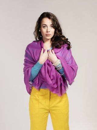 Asneh Purple Lela Cashmere Shawl
