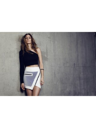 Cara Cheung Optic Mesh Moto Skirt White