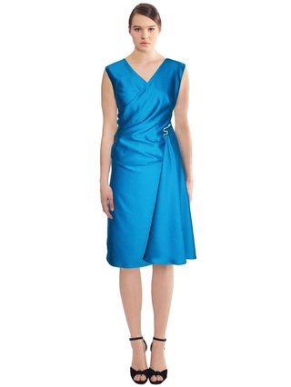 LIZA VETA Wool Wrap Dress With Snake Brooch