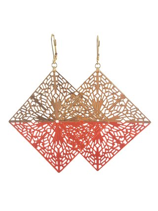 MizDragonfly Diamond Filigree Earrings Orange