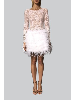 Narces Lace Feather Cocktail Dress