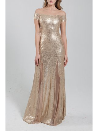 Narces Gold Sequin Gown