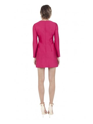 LIZA VETA SILK-WOOL EMBROIDERED DRESS