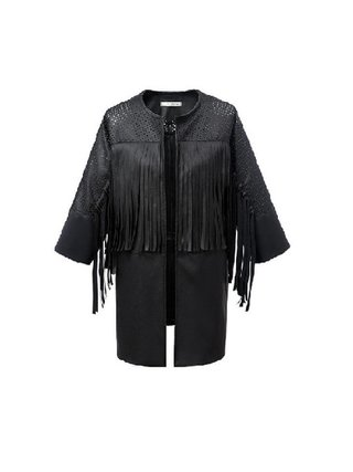 Kari C.  Fringed Vegan Leather Jacket