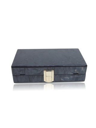 Milanblocks Black Gold Strip Acrylic Box Clutch