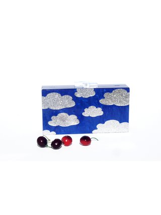 Blue Mother Of Pearl Acrylic Box Clutch