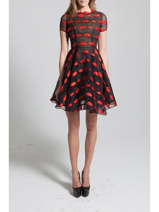 Narces Red Lips Organza Full Skirt Dress